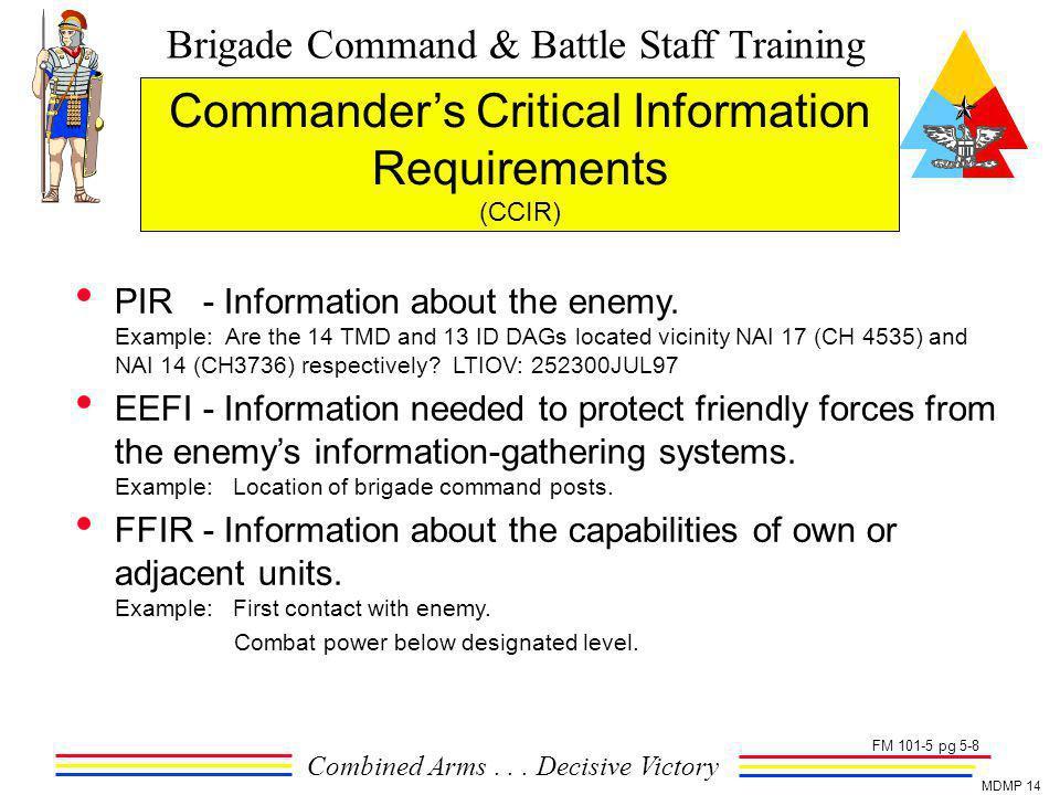 Brigade Command & Battle Staff Training Combined Arms... Decisive Victory MDMP 14 Commanders Critical Information Requirements (CCIR) PIR - Informatio