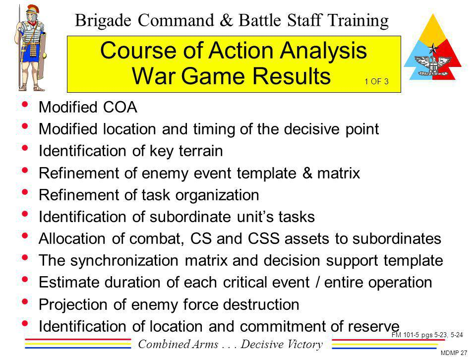 Brigade Command & Battle Staff Training Combined Arms... Decisive Victory MDMP 27 Course of Action Analysis War Game Results 1 OF 3 Modified COA Modif