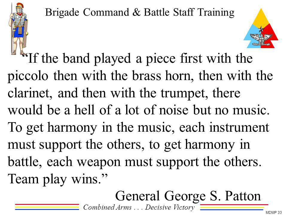 Brigade Command & Battle Staff Training Combined Arms... Decisive Victory MDMP 33 If the band played a piece first with the piccolo then with the bras