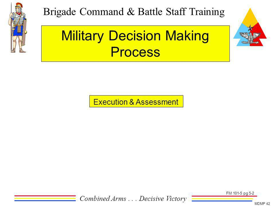 Brigade Command & Battle Staff Training Combined Arms... Decisive Victory MDMP 42 Military Decision Making Process Execution & Assessment FM 101-5 pg
