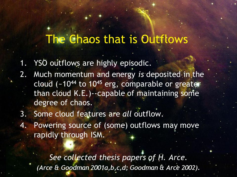 The Chaos that is Outflows 1.YSO outflows are highly episodic.