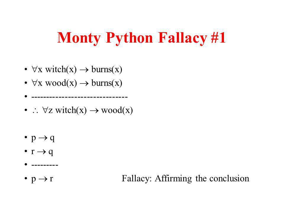 Monty Python Fallacy #1 x witch(x) burns(x) x wood(x) burns(x) ------------------------------- z witch(x) wood(x) p q r q --------- p r Fallacy: Affir