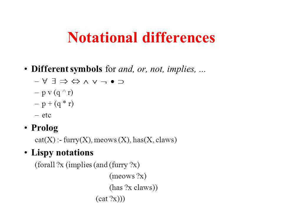 Notational differences Different symbols for and, or, not, implies,...