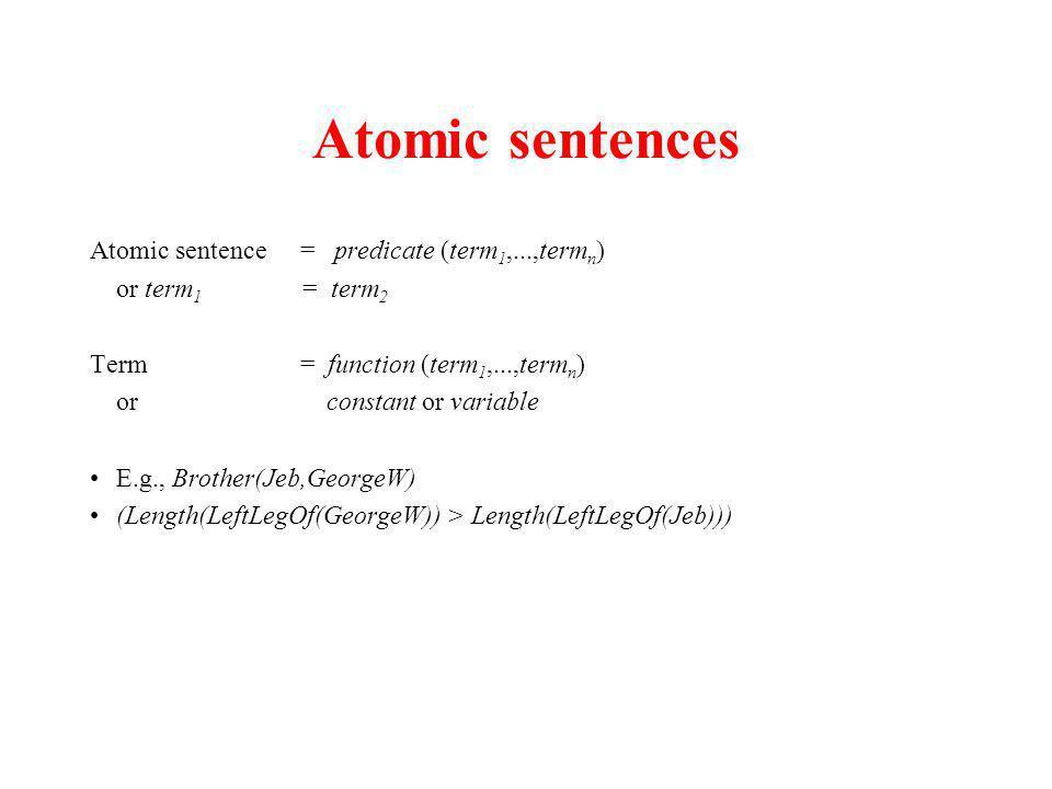 Atomic sentences Atomic sentence = predicate (term 1,...,term n ) or term 1 = term 2 Term = function (term 1,...,term n ) or constant or variable E.g.