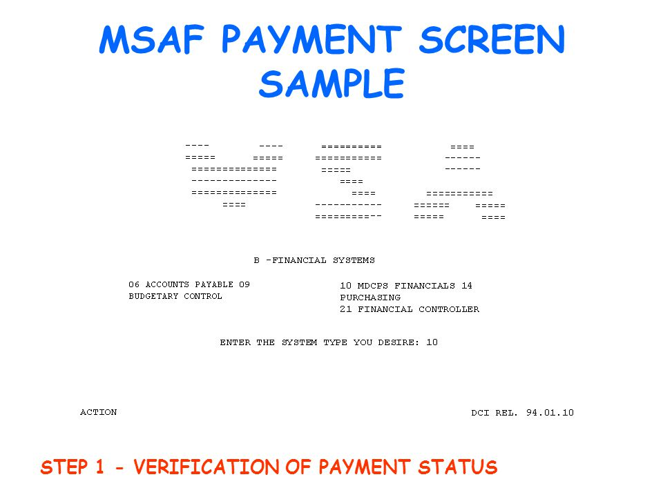 MSAF PAYMENT SCREEN SAMPLE STEP 1 - VERIFICATION OF PAYMENT STATUS