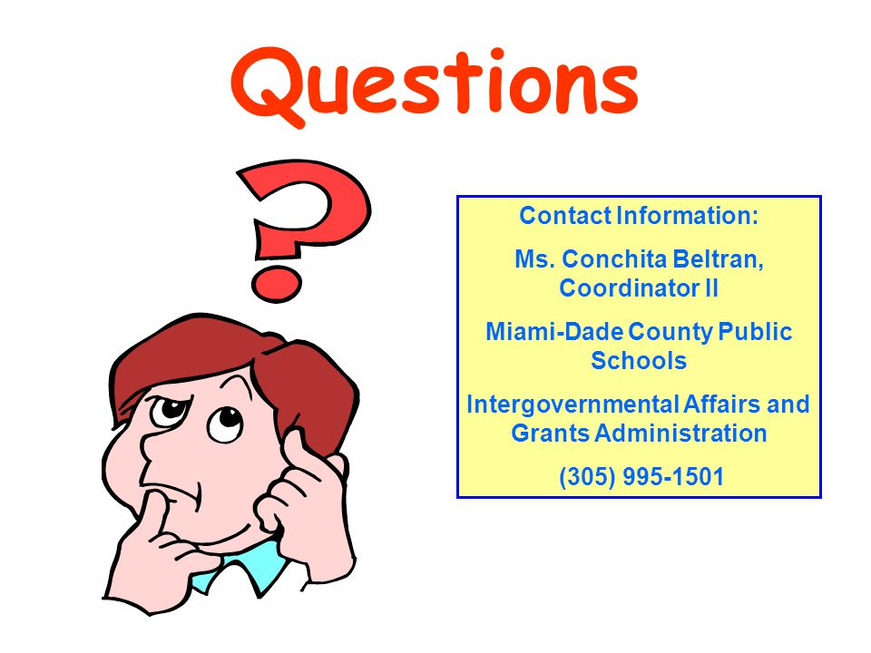 Questions Contact Information: Ms.