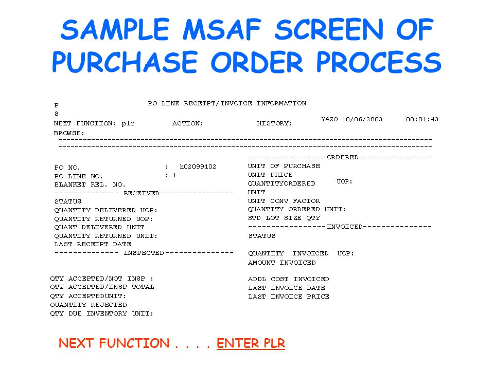 SAMPLE MSAF SCREEN OF PURCHASE ORDER PROCESS NEXT FUNCTION.... ENTER PLR