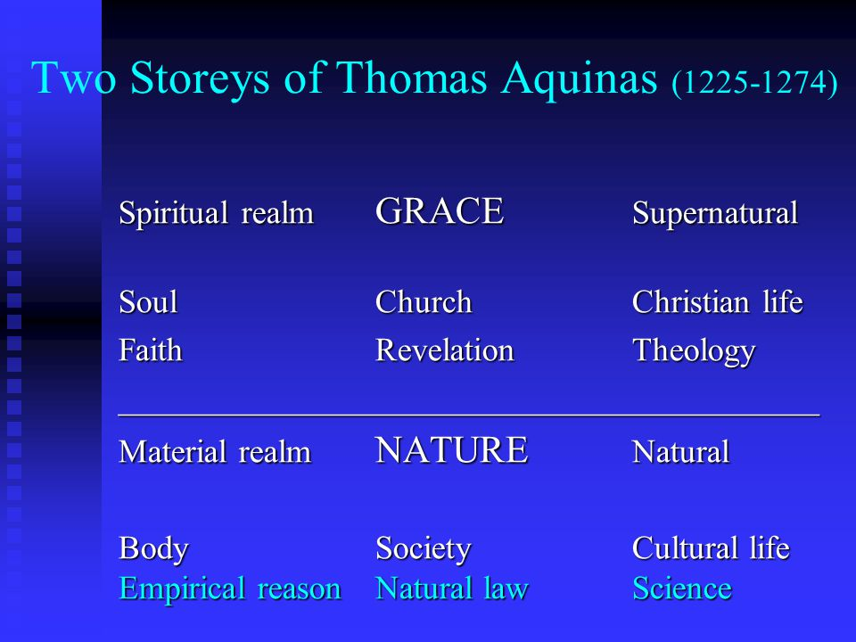 Two Storeys of Thomas Aquinas (1225-1274) Spiritual realm GRACE Supernatural SoulChurchChristian life FaithRevelationTheology __________________________________________ Material realm NATURE Natural Body SocietyCultural life Empirical reasonNatural lawScience