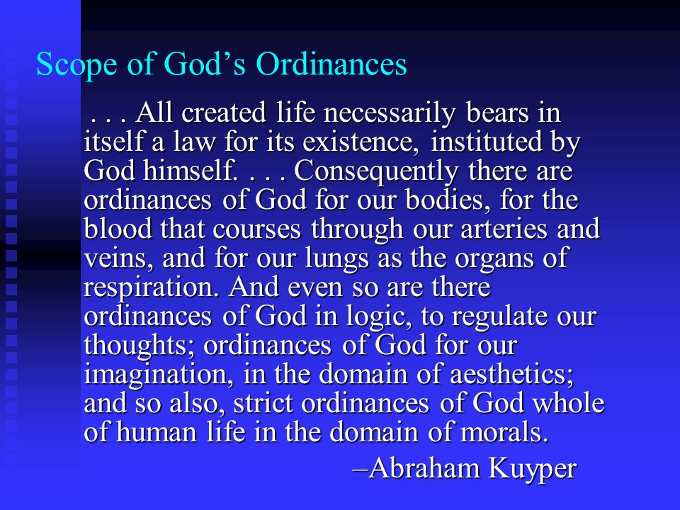 Scope of Gods Ordinances...