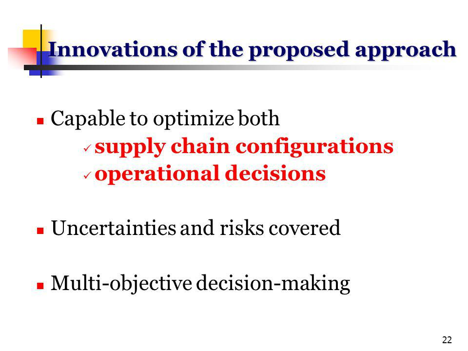 22 Innovations of the proposed approach Capable to optimize both supply chain configurations operational decisions Uncertainties and risks covered Multi-objective decision-making
