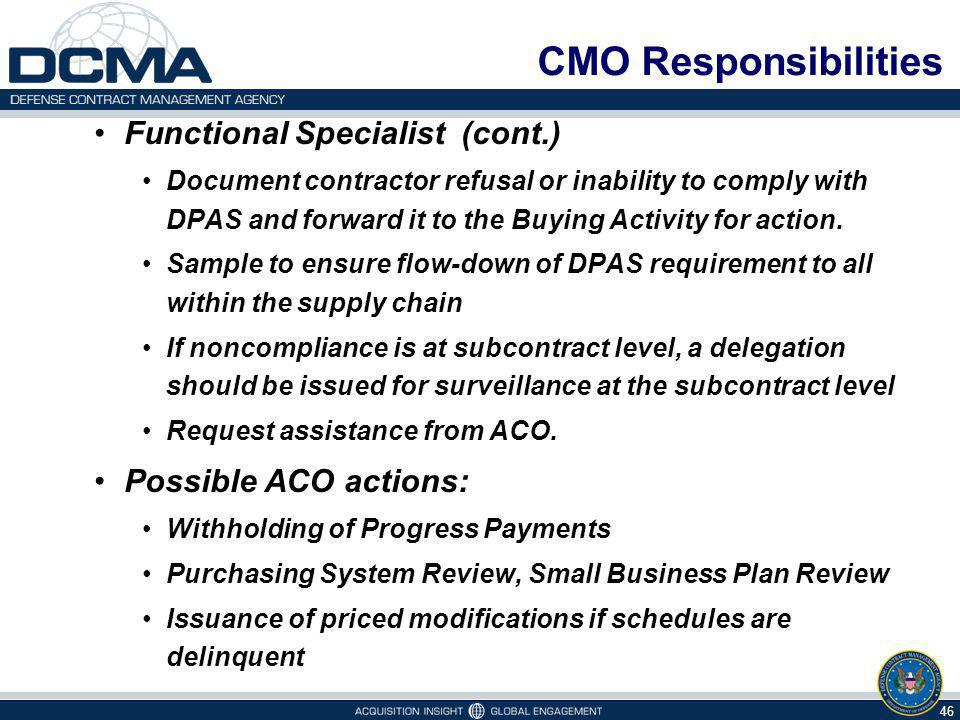 CMO Responsibilities Functional Specialist (cont.) Document contractor refusal or inability to comply with DPAS and forward it to the Buying Activity for action.