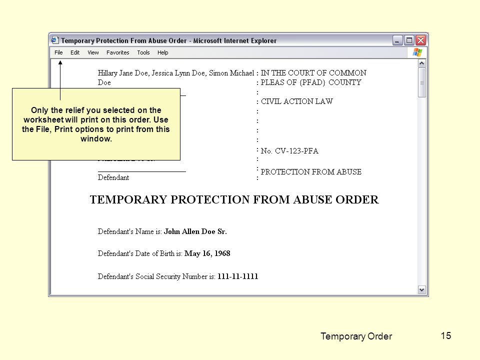Temporary Order 15 Only the relief you selected on the worksheet will print on this order.