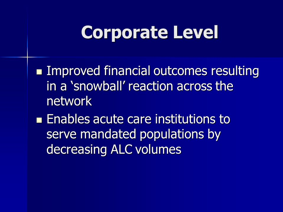 Corporate Level Improved financial outcomes resulting in a snowball reaction across the network Improved financial outcomes resulting in a snowball re