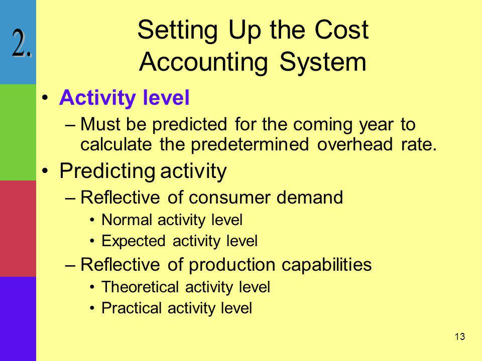 13 Setting Up the Cost Accounting System Activity level –Must be predicted for the coming year to calculate the predetermined overhead rate. Predictin