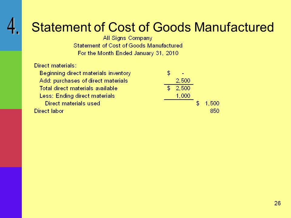 26 Statement of Cost of Goods Manufactured