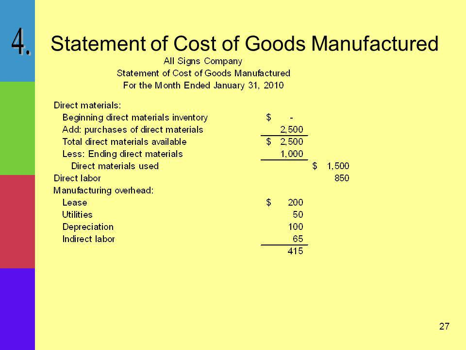 27 Statement of Cost of Goods Manufactured