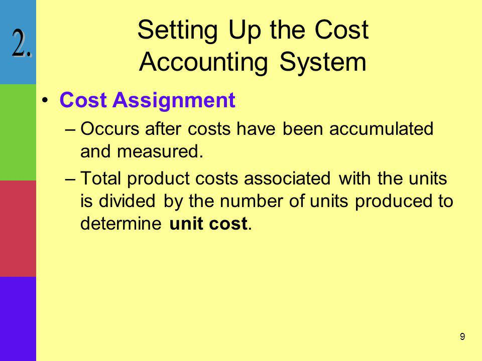 10 Setting Up the Cost Accounting System Unit Cost –Used in manufacturing firms to Value inventory Determine income Inform decision making –Used in nonmanufacturing firms to Determine profitability Determine feasibility of new services