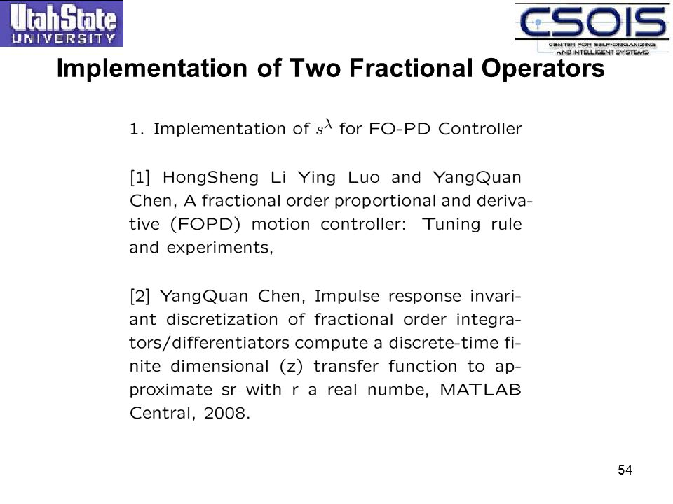 54 Implementation of Two Fractional Operators