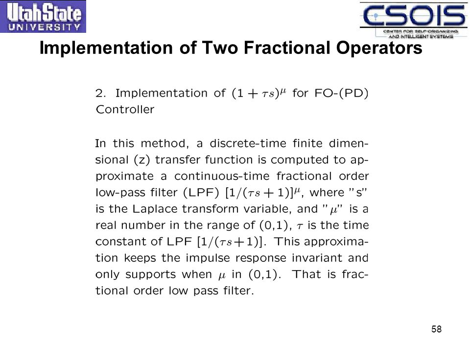 58 Implementation of Two Fractional Operators