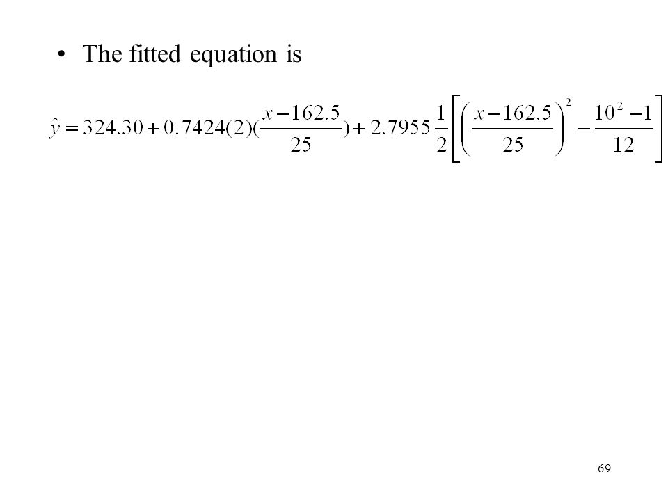 69 The fitted equation is