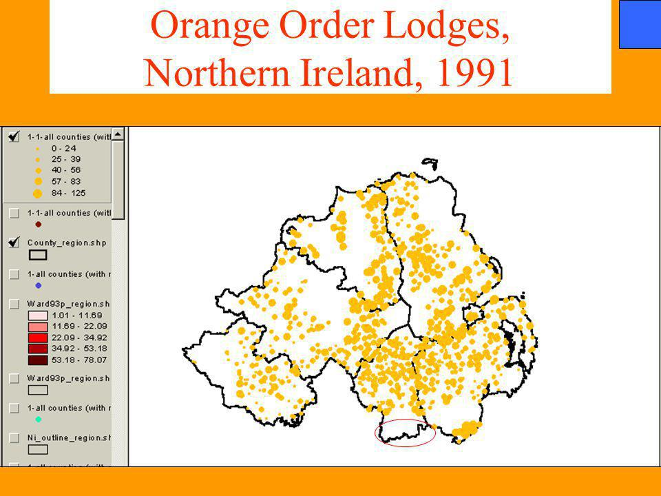 Orange Order Lodges, Northern Ireland, 1991