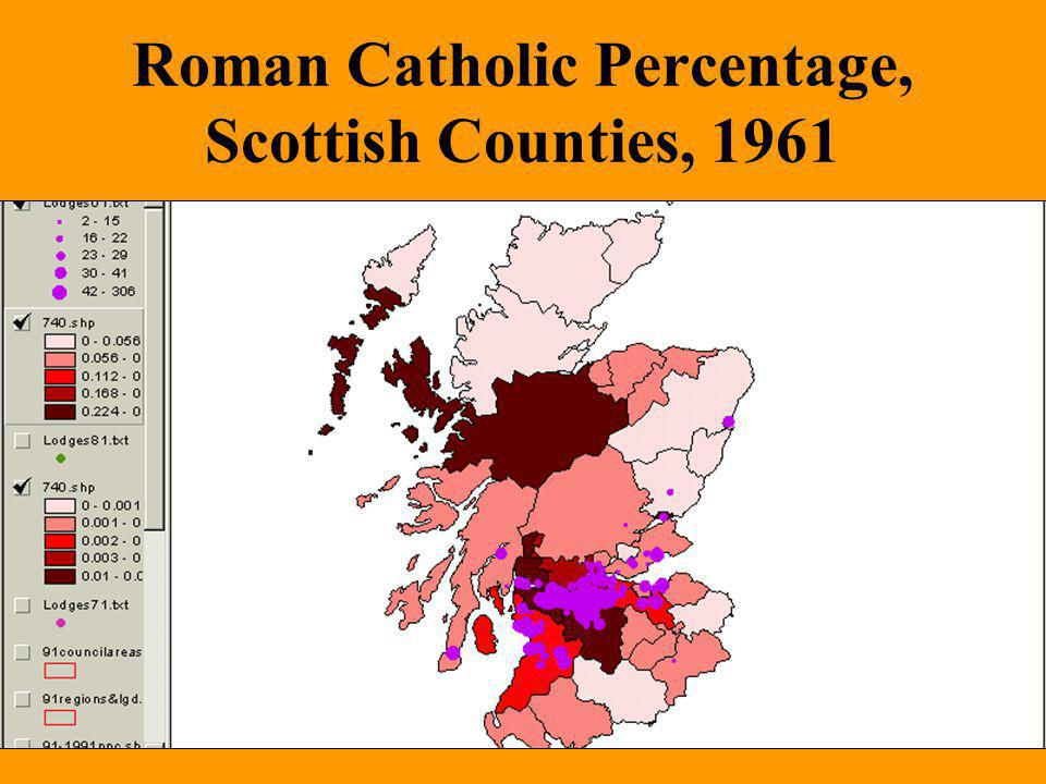 Roman Catholic Percentage, Scottish Counties, 1961