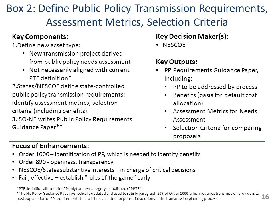 Box 2: Define Public Policy Transmission Requirements, Assessment Metrics, Selection Criteria Key Components: 1.Define new asset type: New transmission project derived from public policy needs assessment Not necessarily aligned with current PTF definition* 2.States/NESCOE define state-controlled public policy transmission requirements; identify assessment metrics, selection criteria (including benefits).