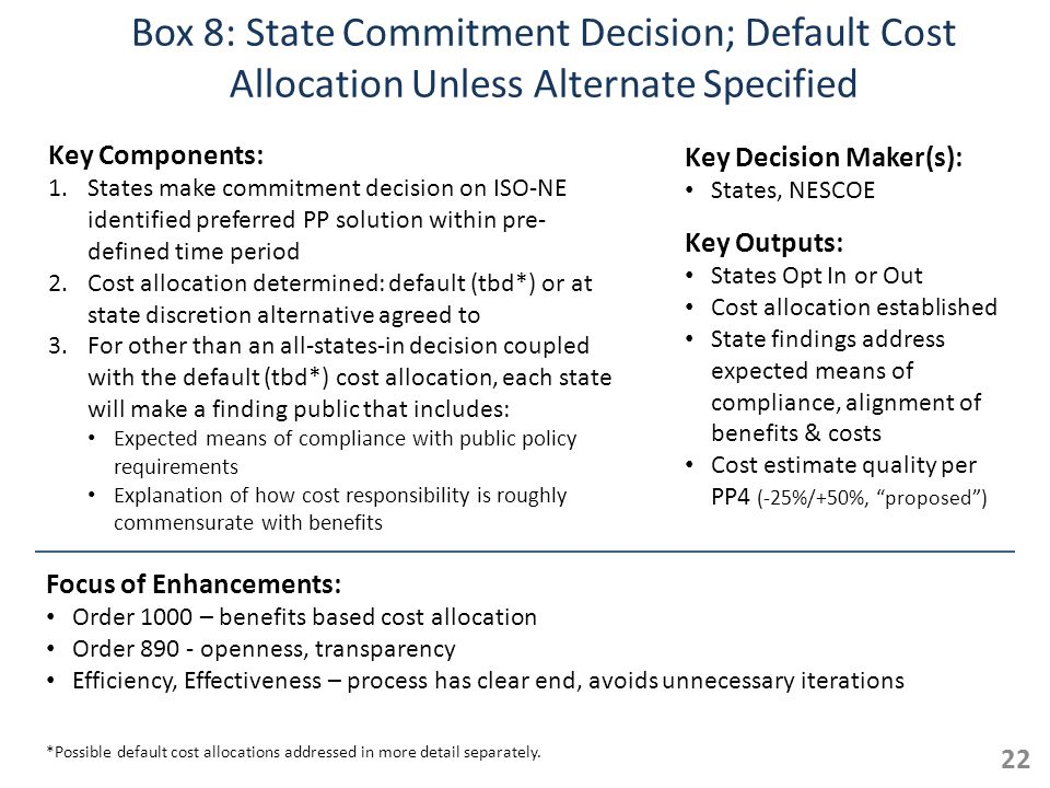 Box 8: State Commitment Decision; Default Cost Allocation Unless Alternate Specified Key Components: 1.States make commitment decision on ISO-NE identified preferred PP solution within pre- defined time period 2.Cost allocation determined: default (tbd*) or at state discretion alternative agreed to 3.For other than an all-states-in decision coupled with the default (tbd*) cost allocation, each state will make a finding public that includes: Expected means of compliance with public policy requirements Explanation of how cost responsibility is roughly commensurate with benefits 22 Key Outputs: States Opt In or Out Cost allocation established State findings address expected means of compliance, alignment of benefits & costs Cost estimate quality per PP4 (-25%/+50%, proposed) Key Decision Maker(s): States, NESCOE Focus of Enhancements: Order 1000 – benefits based cost allocation Order 890 - openness, transparency Efficiency, Effectiveness – process has clear end, avoids unnecessary iterations *Possible default cost allocations addressed in more detail separately.