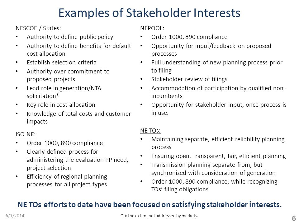 Examples of Stakeholder Interests NESCOE / States: Authority to define public policy Authority to define benefits for default cost allocation Establish selection criteria Authority over commitment to proposed projects Lead role in generation/NTA solicitation* Key role in cost allocation Knowledge of total costs and customer impacts ISO-NE: Order 1000, 890 compliance Clearly defined process for administering the evaluation PP need, project selection Efficiency of regional planning processes for all project types 6/1/2014 6 NE TOs efforts to date have been focused on satisfying stakeholder interests.