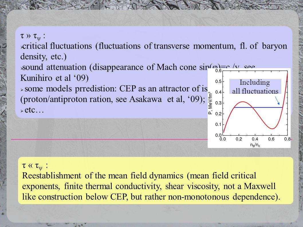 τ » τ ψ : critical fluctuations (fluctuations of transverse momentum, fl. of baryon density, etc.) sound attenuation (disappearance of Mach cone sin(φ