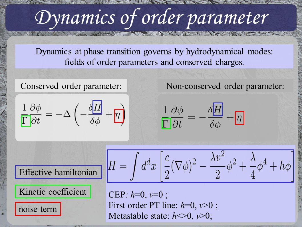 Dynamics of order parameter Dynamics at phase transition governs by hydrodynamical modes: fields of order parameters and conserved charges.