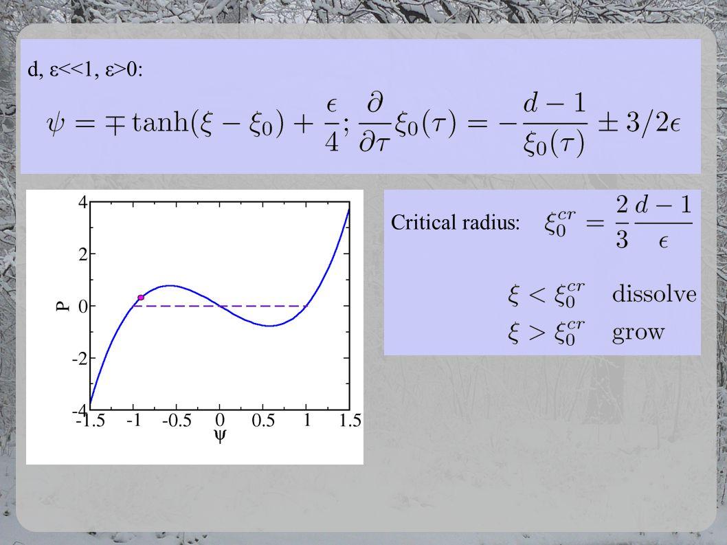d, ε 0: Critical radius: