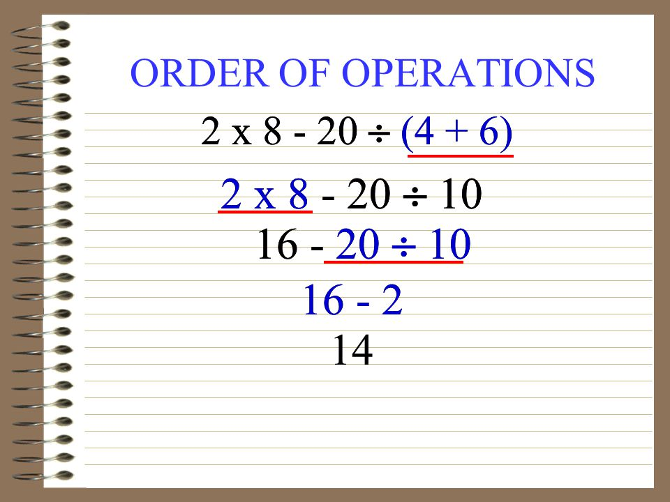 ORDER OF OPERATIONS 2 x (4 + 6) 2 x x (4 + 6) 2 x
