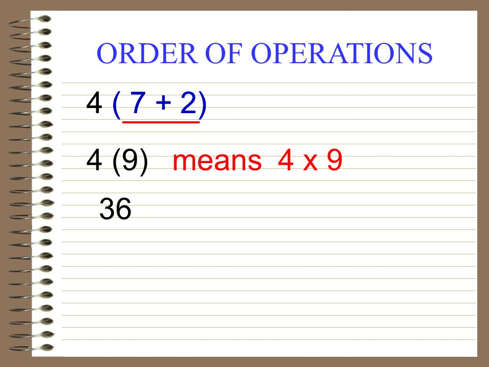 ORDER OF OPERATIONS 4 ( 7 + 2) 4 (9)4 x 9 36 means