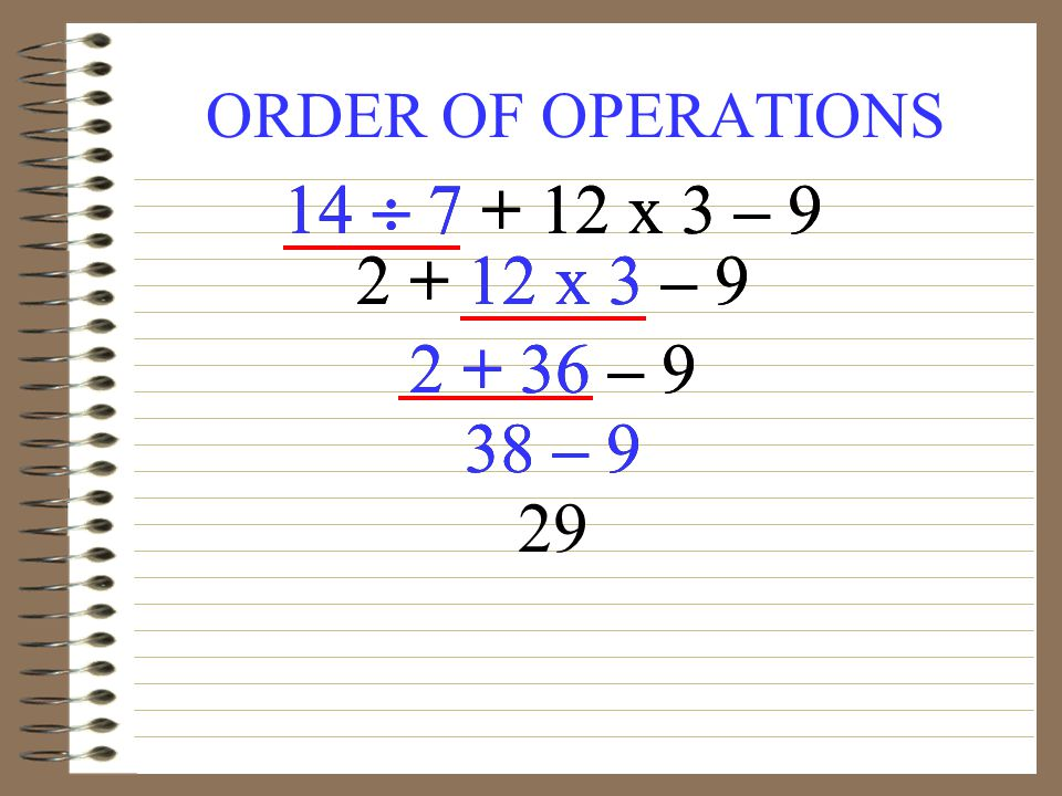 ORDER OF OPERATIONS x 3 – x 3 – – 9 38 – 9 29