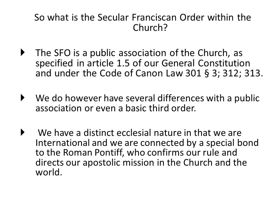 So what is the Secular Franciscan Order within the Church.
