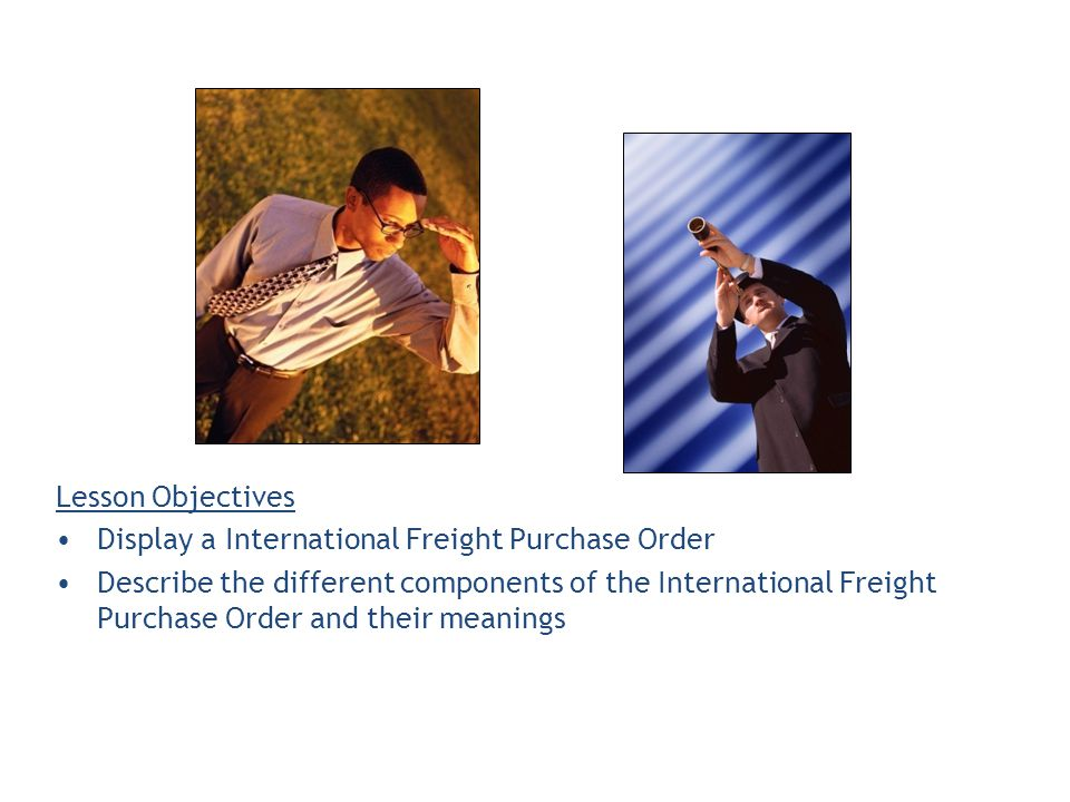 Lesson Objectives Display a International Freight Purchase Order Describe the different components of the International Freight Purchase Order and their meanings