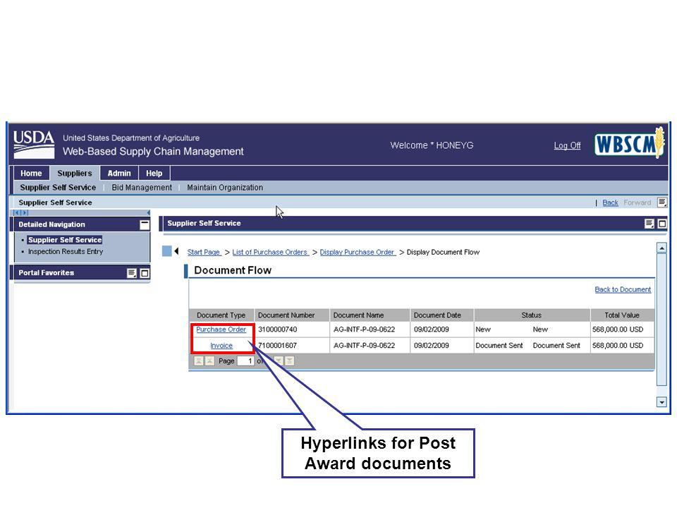 Hyperlinks for Post Award documents