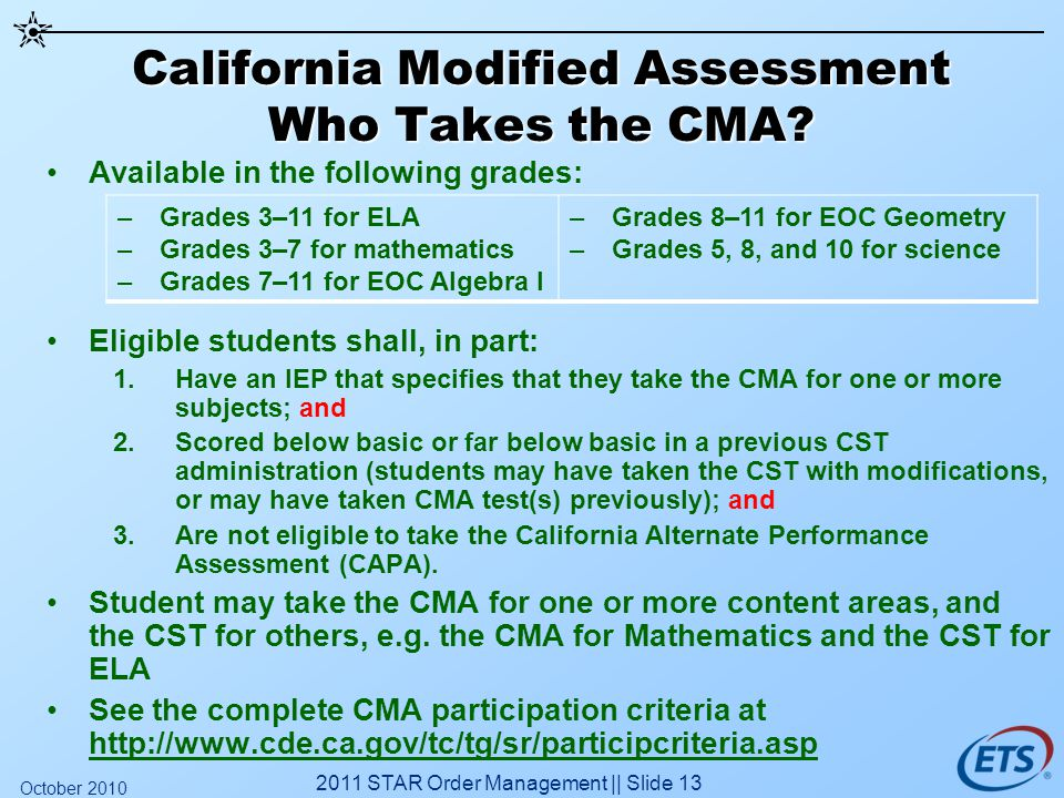 California Modified Assessment Who Takes the CMA.