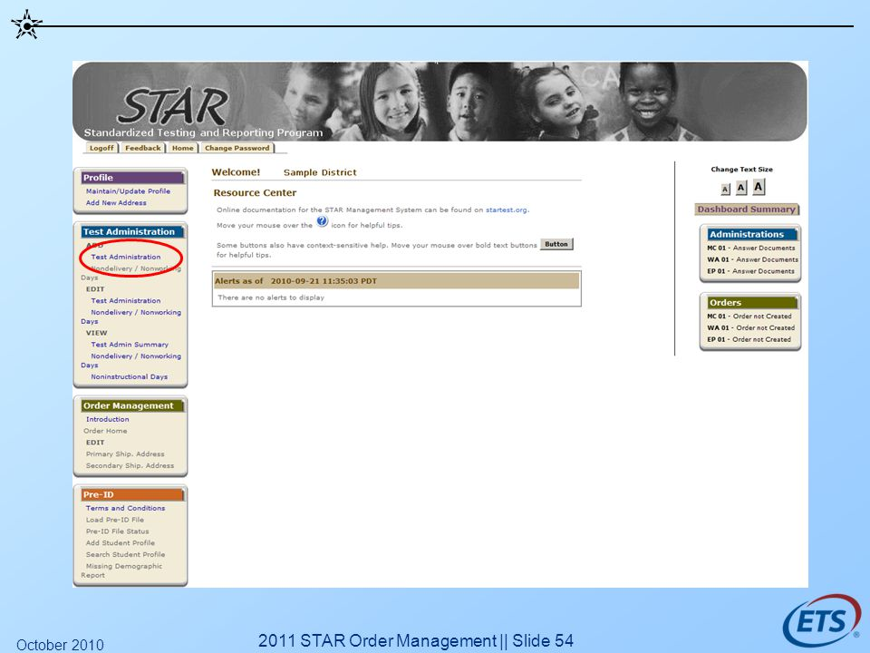 2011 STAR Order Management || Slide 54 October 2010