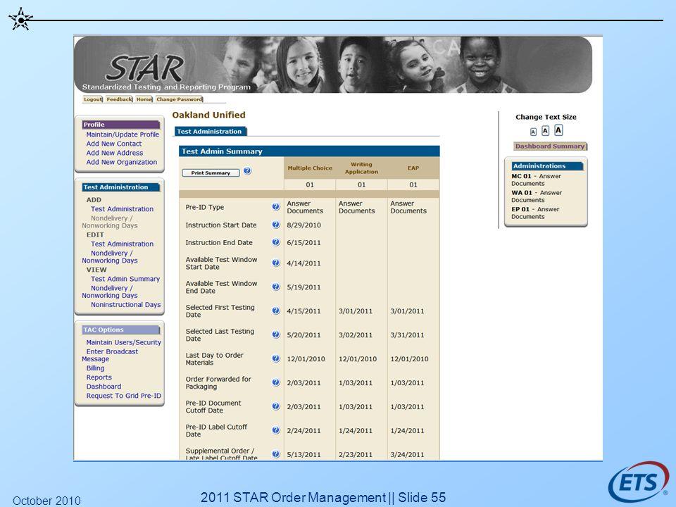 2011 STAR Order Management || Slide 55 October 2010