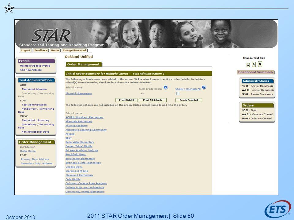 2011 STAR Order Management || Slide 60 October 2010