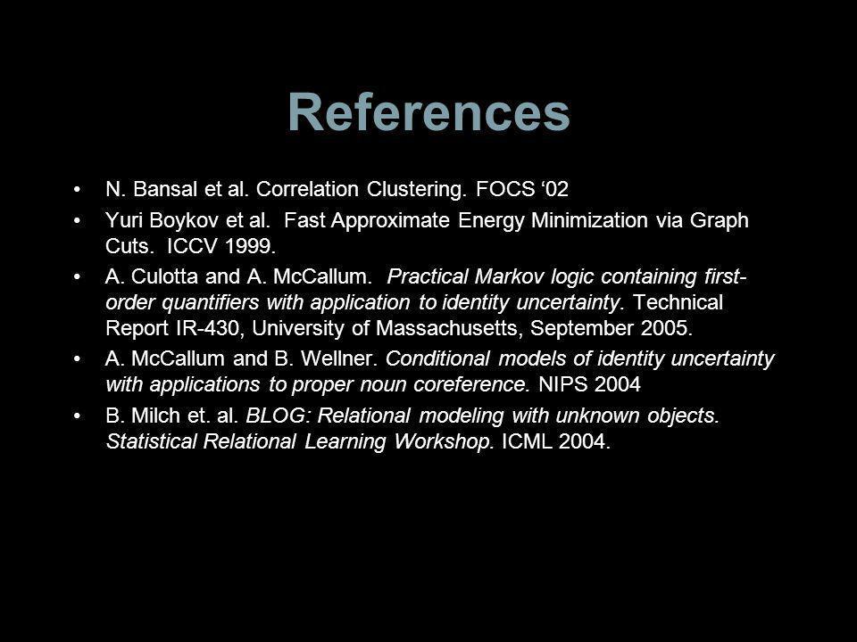 References N. Bansal et al. Correlation Clustering.
