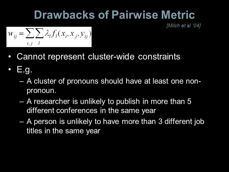 Drawbacks of Pairwise Metric Cannot represent cluster-wide constraints E.g.