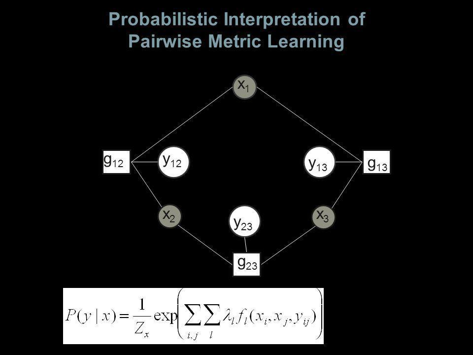 Probabilistic Interpretation of Pairwise Metric Learning x2x2 x1x1 x3x3 y 12 y 23 y 13 g 12 g 13 g 23