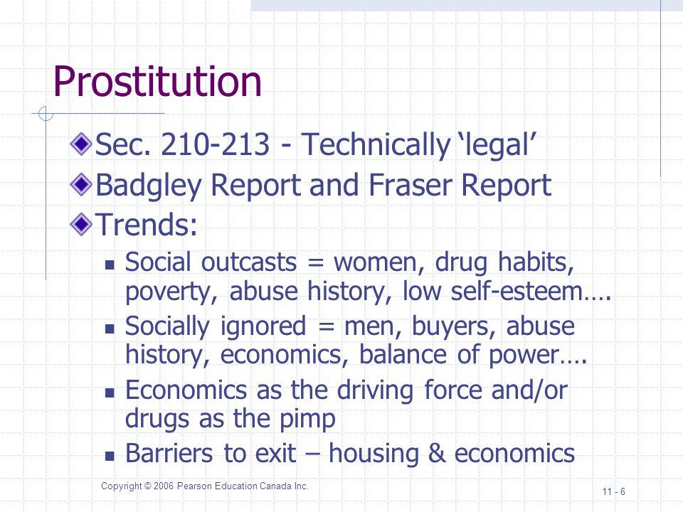 Copyright © 2006 Pearson Education Canada Inc.11 - 6 Prostitution Sec.