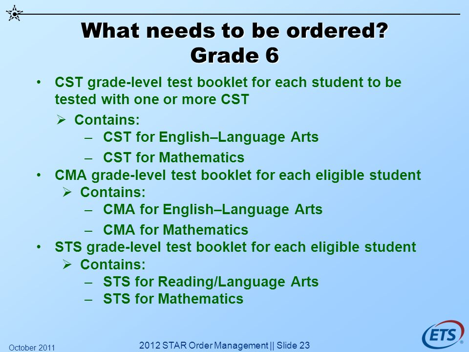 What needs to be ordered? Grade 6 CST grade-level test booklet for each student to be tested with one or more CST Contains: –CST for English–Language