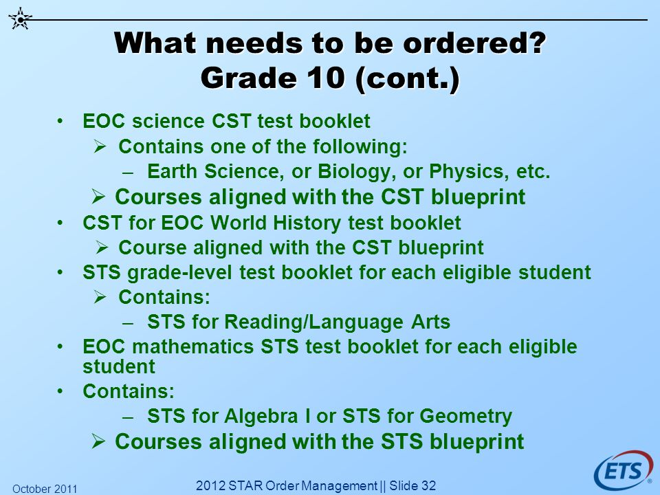 What needs to be ordered? Grade 10 (cont.) EOC science CST test booklet Contains one of the following: –Earth Science, or Biology, or Physics, etc. Co