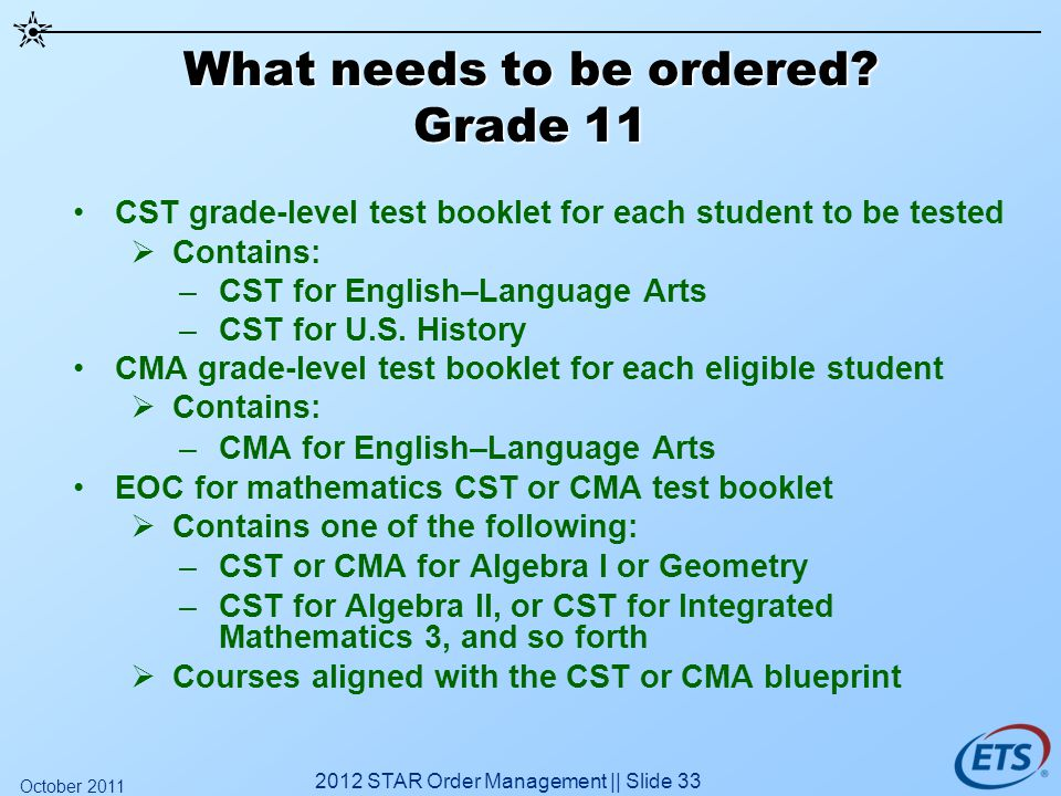 What needs to be ordered? Grade 11 CST grade-level test booklet for each student to be tested Contains: –CST for English–Language Arts –CST for U.S. H