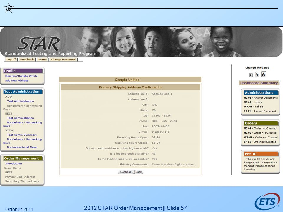2012 STAR Order Management || Slide 57 October 2011